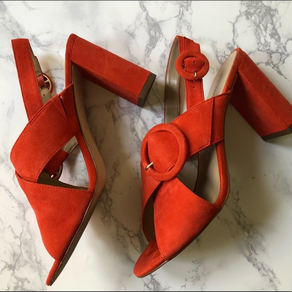Ann Taylor Shoes - Ann Taylor Magda Suede Orange Buckle Block Heel 8